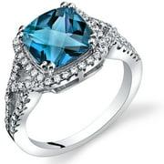 2.75 Cushion Cut London Blue Topaz Checkerboard Ring in Sterling Silver