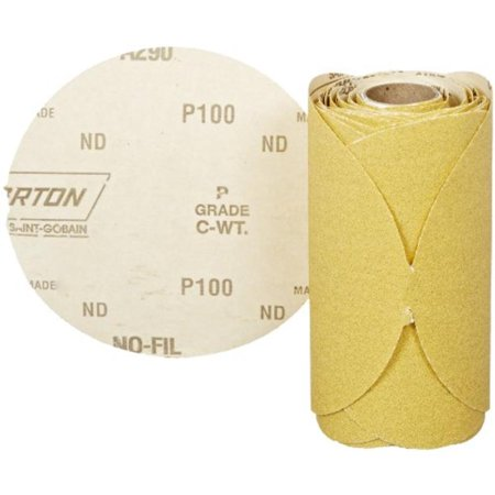 Norton No Hole Stick and Sand Abrasive Disc, 5 in Dia, 100 Grit, Medium Grade, Aluminum Oxide Abrasive