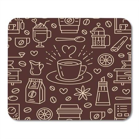 KDAGR Coffee Cute Beverages Hot Drinks Flat Line Coffeemaker Machine Beans Cup Grinder Repeated for Cafe Mousepad Mouse Pad Mouse Mat 9x10