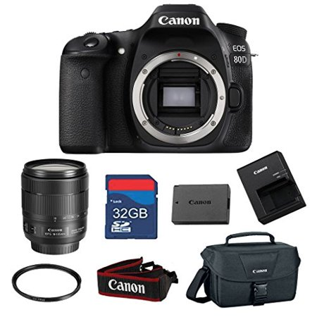 Canon EOS 80D 24.2 MP CMOS Digital SLR Camera Bundle with Canon EF-S 18-135mm f/3.5-5.6 IS USM Lens -