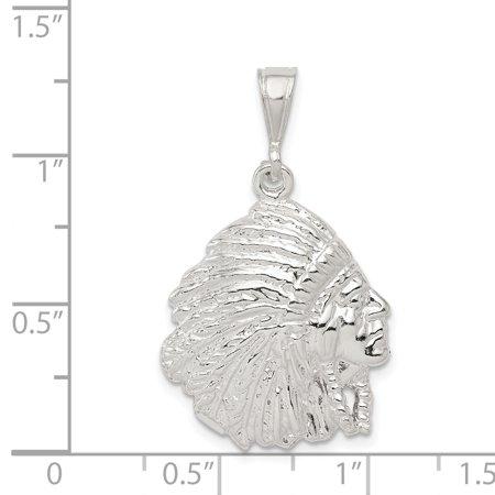 925 Sterling Silver Polished Indian Man Shaped Pendant - image 1 de 2