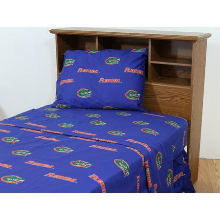 Florida Gators 100% cotton, 4 piece sheet set - flat sheet, fitted sheet, 2 pillow cases, Queen, Team - Florida Gators Colors