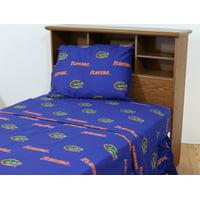 Florida Gators 100% cotton, 4 piece sheet set - flat sheet, fitted sheet, 2 pillow cases, Queen, Team Colors