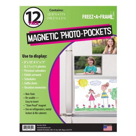 - Freez A Frame Clear Magnetic Pockets 12 Pack (2) 8.5 x 11 (10) 2.5 x 3.5