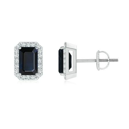 September Birthstone Earrings - Emerald-Cut Sapphire Stud Earrings with Diamond Halo in 14K White Gold (6x4mm Blue Sapphire) -