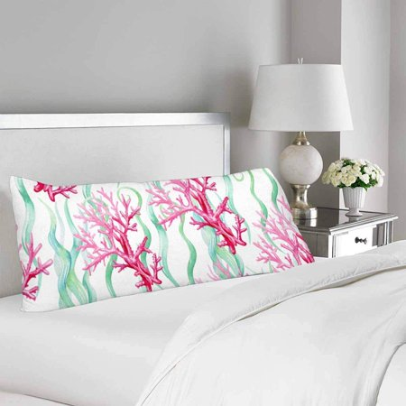 GCKG Watercolor Seamless Sea Coral Pattern Body Pillow Covers Case Protector 20x60 inches - image 1 de 2