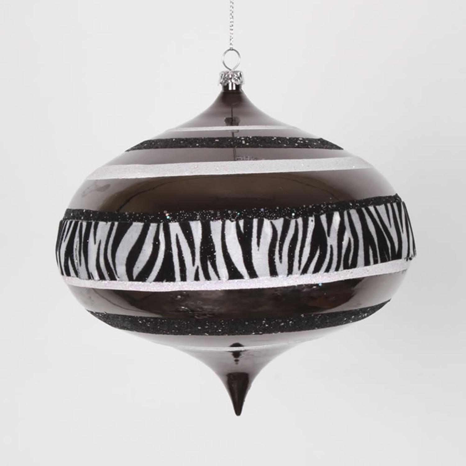 "Diva Safari Zebra Print & Stripes Black and White Commercial Christmas Onion Ornament 6"" (160mm)"