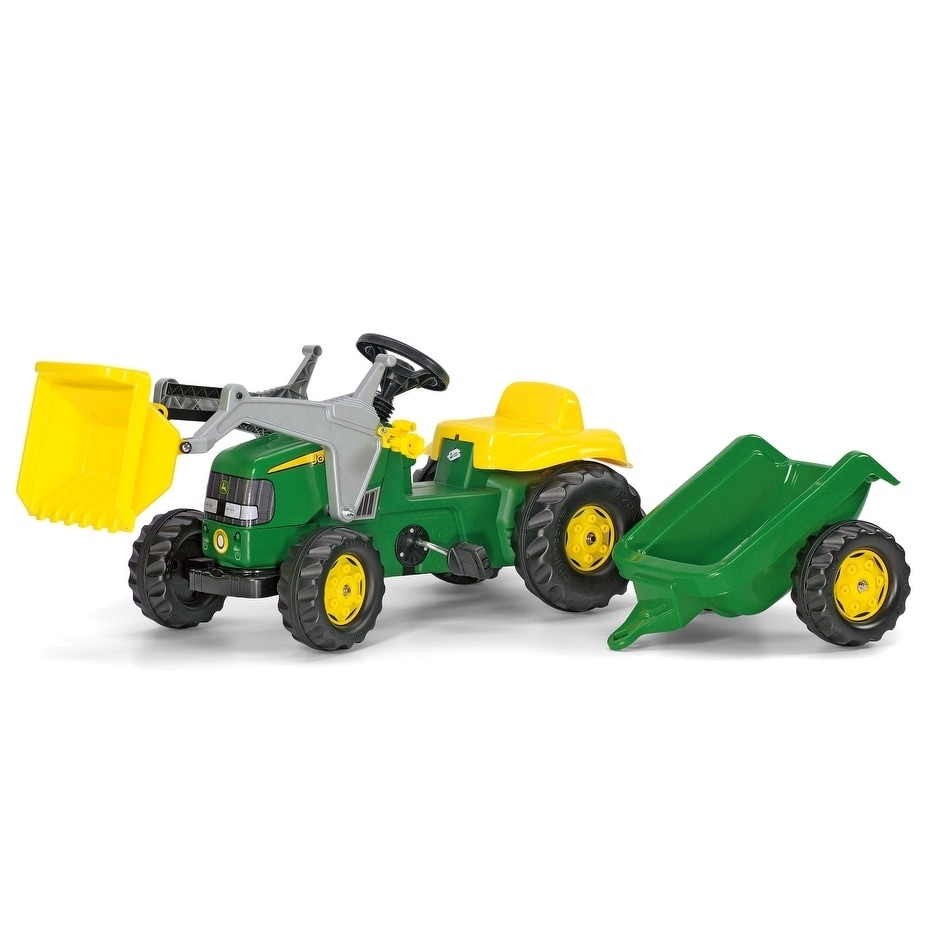 John Deere Kid Tractor w  Trailer Green Yellow by Rolly Toys