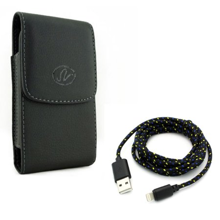 Leather Case Belt Clip w Charger Cord 6ft USB Cable for #model_series - Holster Cover Pouch Vertical Carry and Power Wire Braided Long Sync