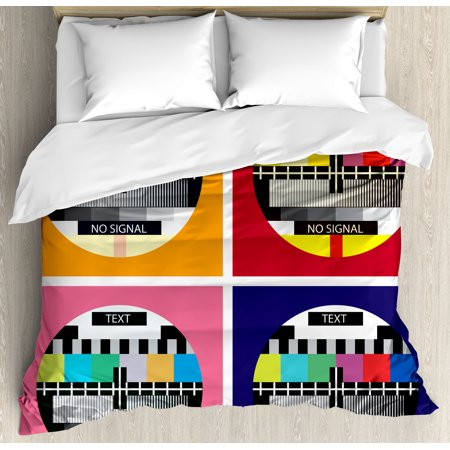 Modern Decor King Size Duvet Cover Set, Television Radio Channel Signal Digital Sign in Four Collage Artwork Image, Decorative 3 Piece Bedding Set with 2 Pillow Shams, Multicolor, by Ambesonne ()