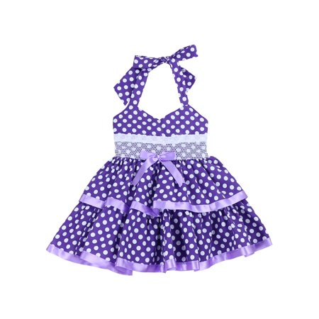 Cotton-Blend Fishing for Polka Dots Halter Dress for Toddlers and Girls (Purple, 2T) (Pink Dotted Dress)