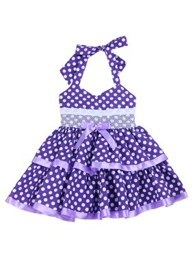 b63e179418c Product Image Cotton-Blend Fishing for Polka Dots Halter Dress for Toddlers  and Girls (Purple