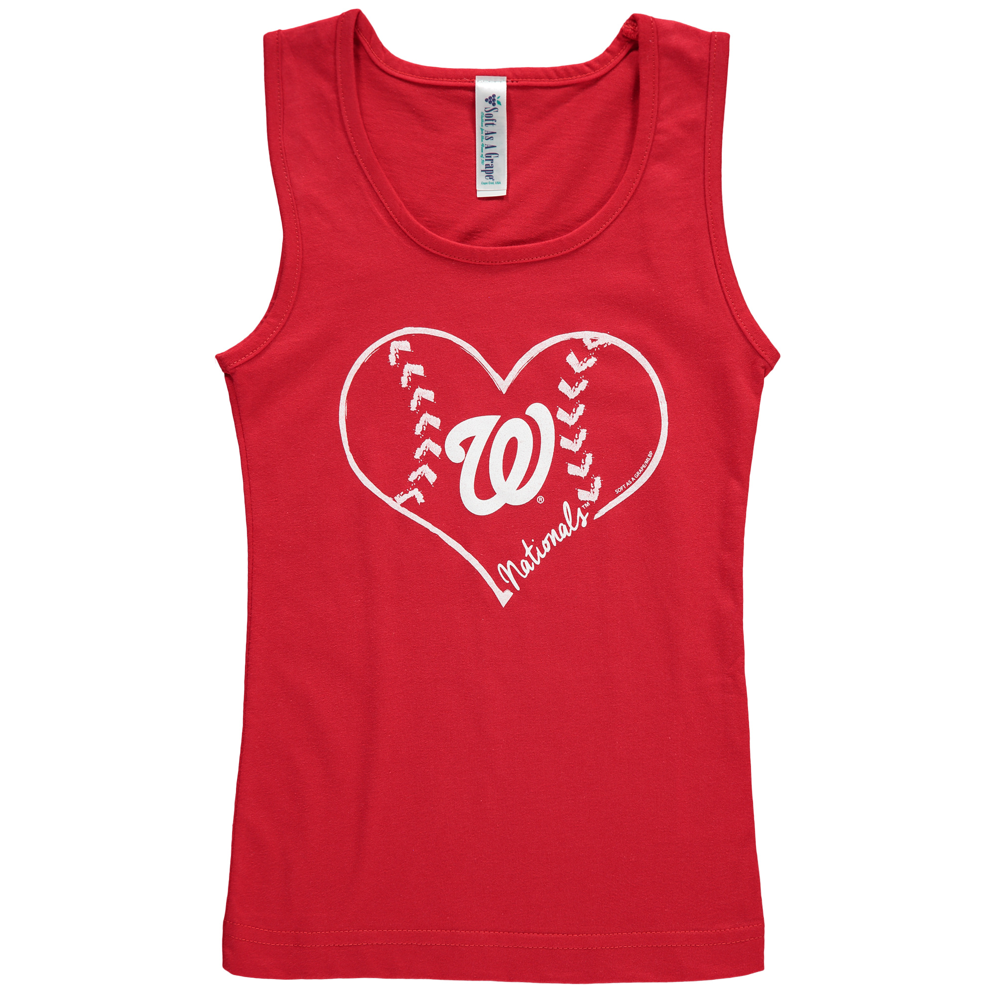 Washington Nationals Soft as a Grape Girls Youth Cotton Tank Top - Red