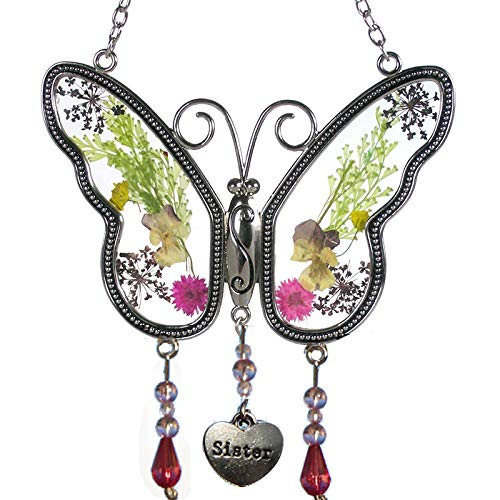 Stained Glass Butterfly Suncatcher in Clear with Painted Wings