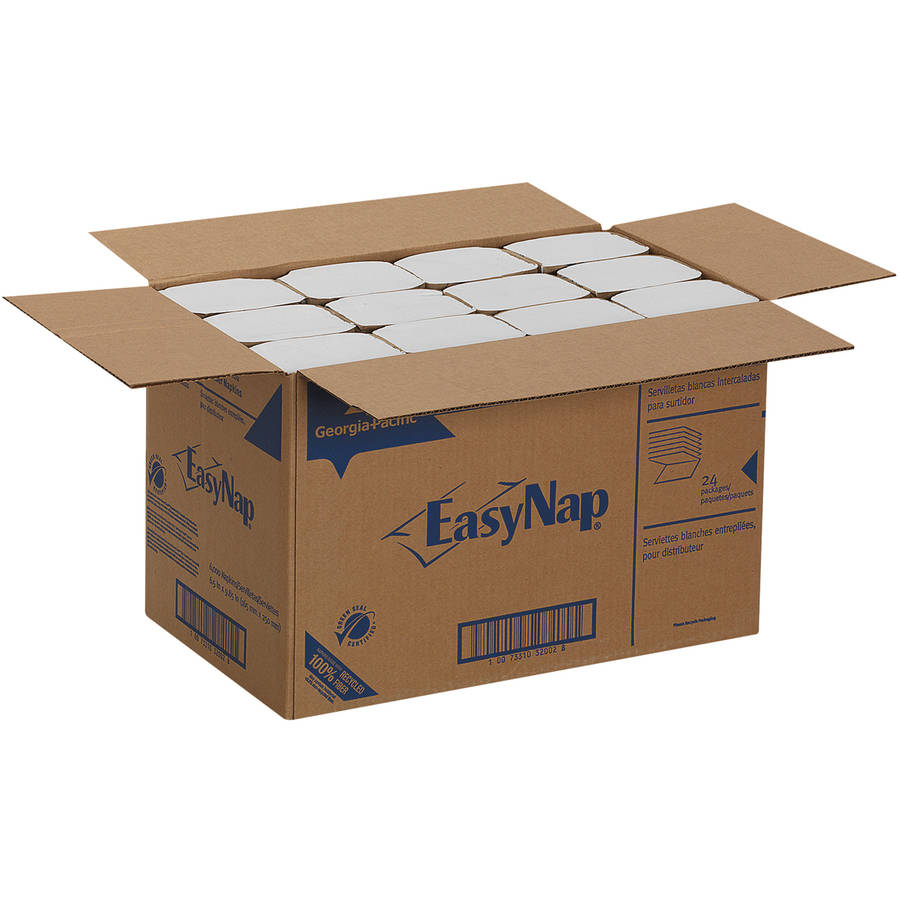 Georgia Pacific Professional EasyNap Embossed White Dispenser Napkins, 250 count, (Pack of 24)
