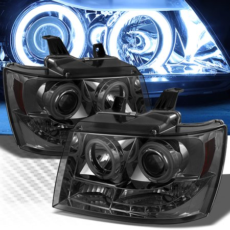 Twin CCFL Halo LED 2007-2014 Chevy Tahoe Avalanche Smoked Projector Headlights Pair L+R 2008 2009 2010 2011 2012 2013