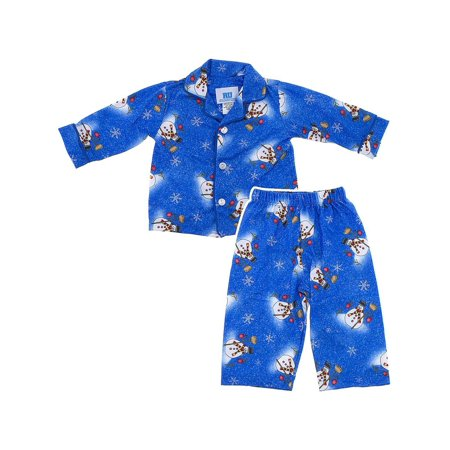 Blue Snowman Classic Christmas Coat-Style Pajamas for Infants, Toddlers and Boys