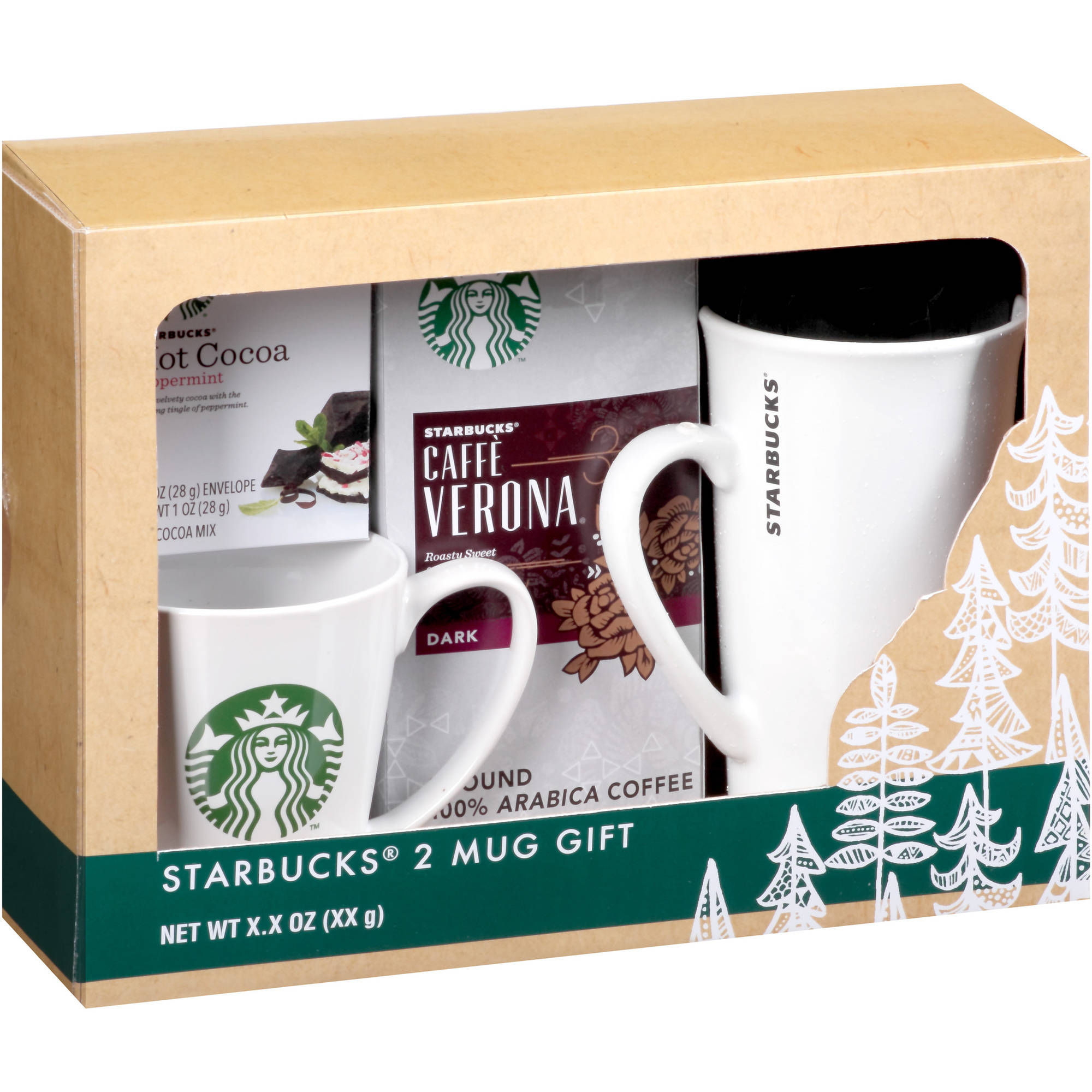 Starbucks 2 Mug Holiday Gift Set, 4 pc