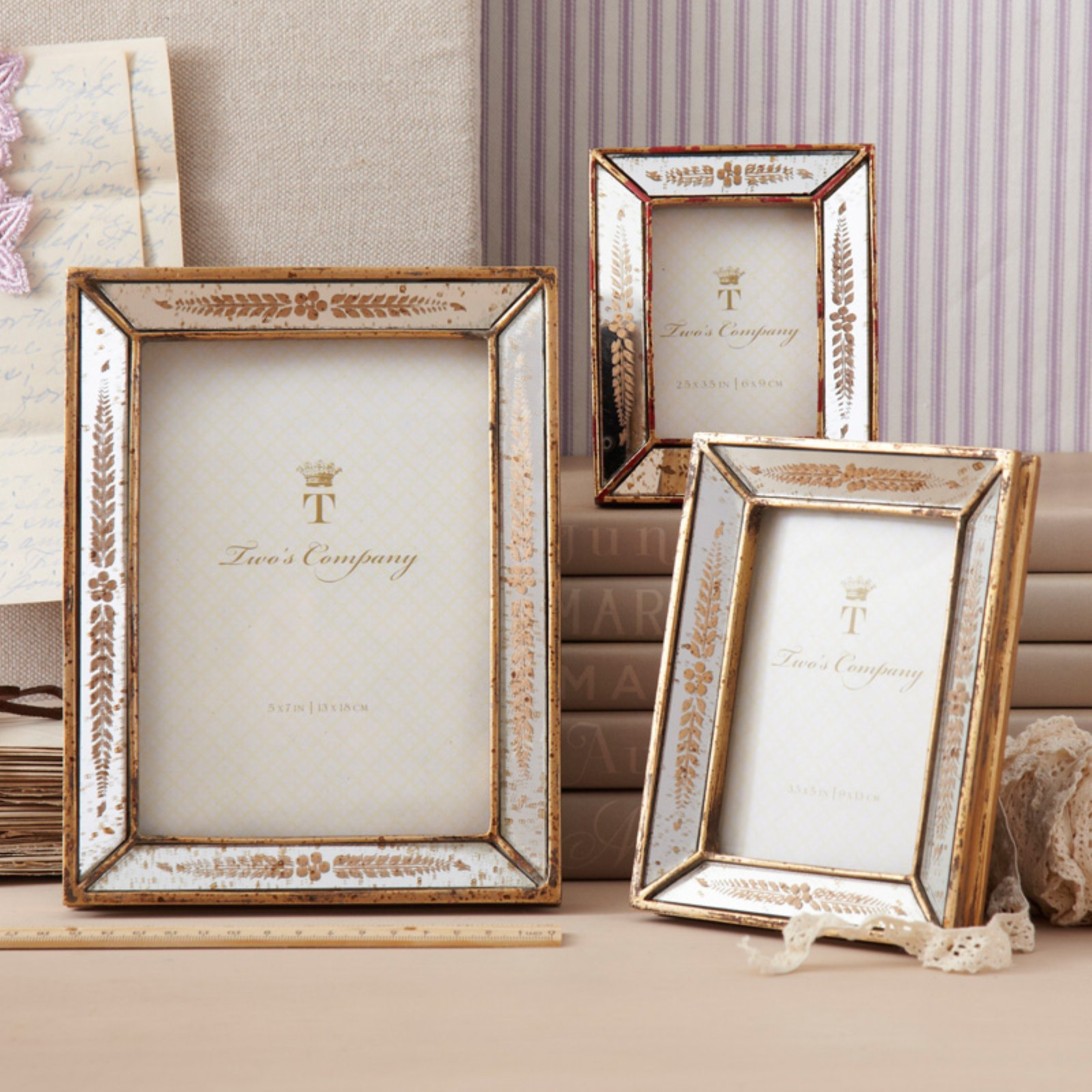 Two's Company Set of 3 Gold Leaf Photo Frames