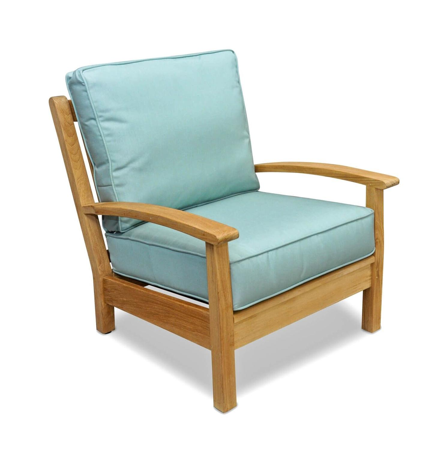 "34"" Natural Teak Deep Seating Outdoor Patio Lounge Chair with Spa Green Cushions"