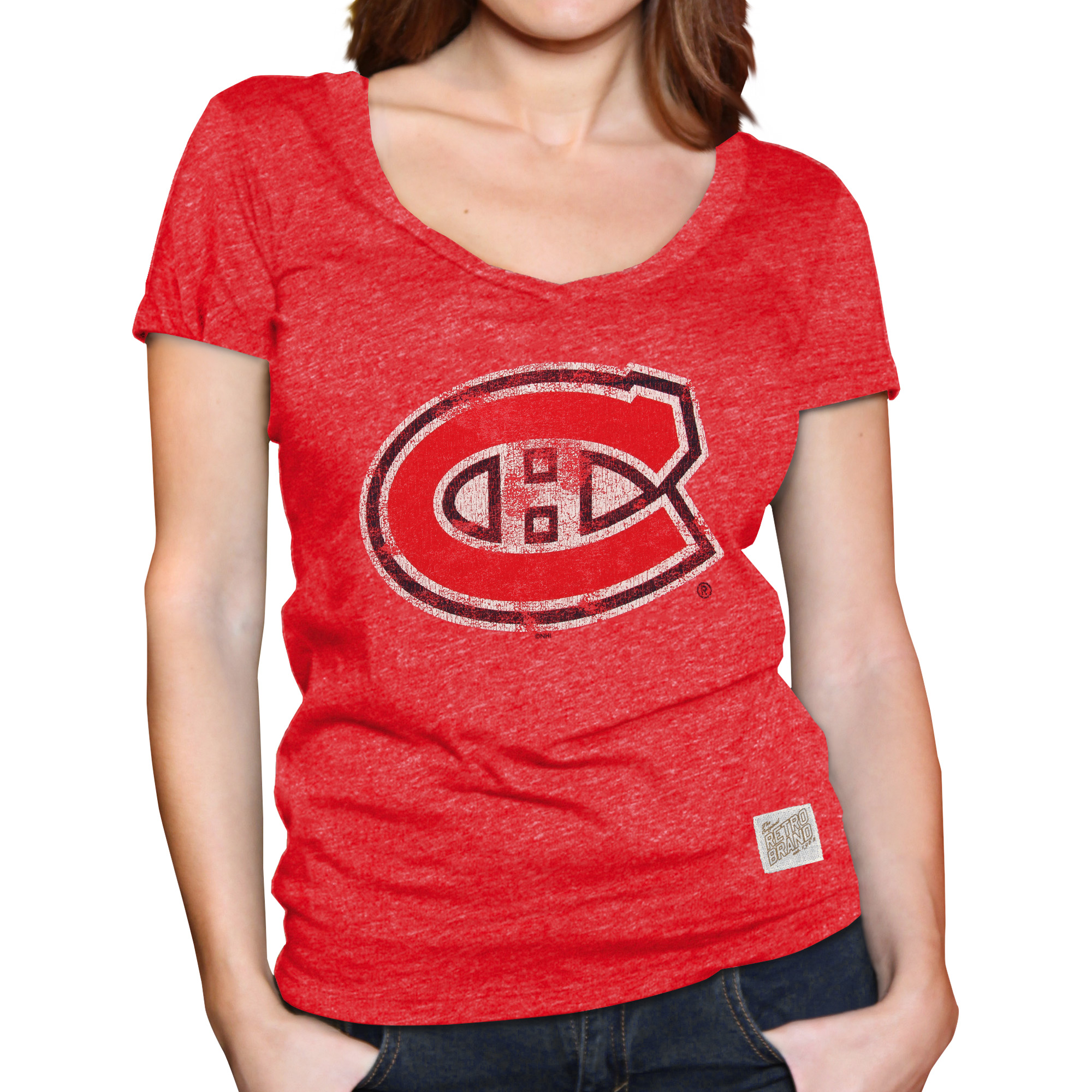 Montreal Canadiens Original Retro Brand Women's Mock Twist Tri-Blend V-Neck T-Shirt - Red