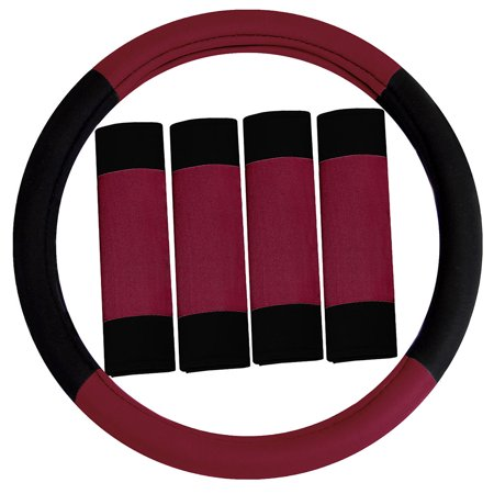 FH GROUP Modernistic Steering Wheel Cover and Seat Belt Pads, Burgundy