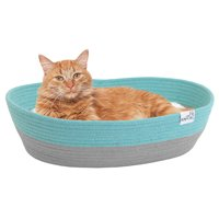 """Kitty City Woven Rope Pet Cat Bed, Blue, 14""""L x 19""""W x 5""""H"""