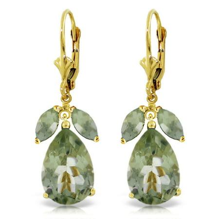 ALARRI 13 Carat 14K Solid Gold Ripe Pear Green Amethyst Earrings.