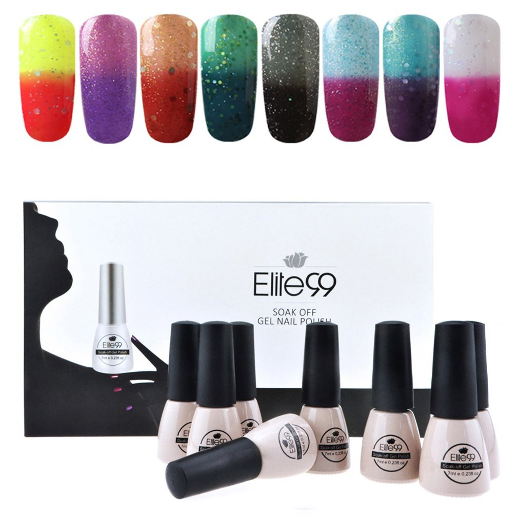 Elite99 Temperature Color Changing Gel Nail Polish Kit 8 Colors, Soak Off UV LED Nail Polish Set Nail Art C041