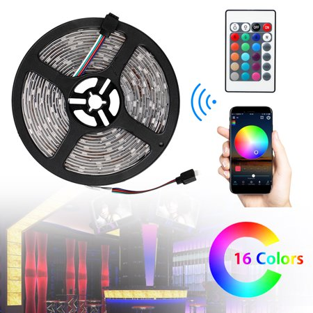 EEEkit Waterproof LED Lights Strip 5050 SMD RGB LED, 300LEDs, 16.4ft(5m) Cuttable, Smartphone/IR Remote Three Control Mode, for Home Upstairs Kitchen Porch Halloween Christmas Party - Halloween Porch