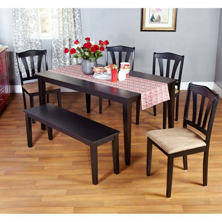 Metropolitan 6 piece dining set with bench black box 1 for Black n white dining rooms