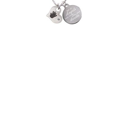 Hand Engraved Heart - Hand Print Heart Not All Angels Have Wings Some Wear Scrubs Engraved Necklace