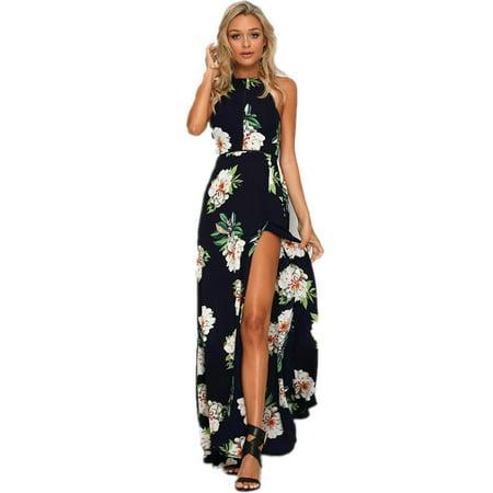 498ac66fafe0 UKAP - Summer Dress For Women Chiffon High-waist Halter Neck Floral  Printing Split Sleeveless Maxi Dress - Walmart.com
