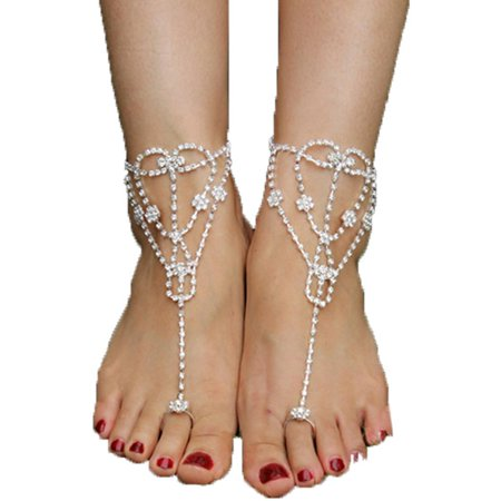 Hot Fashion Women Crystal Barefoot Sandals Beach Wedding Foot Anklet (Foot Thong Barefoot Sandal)