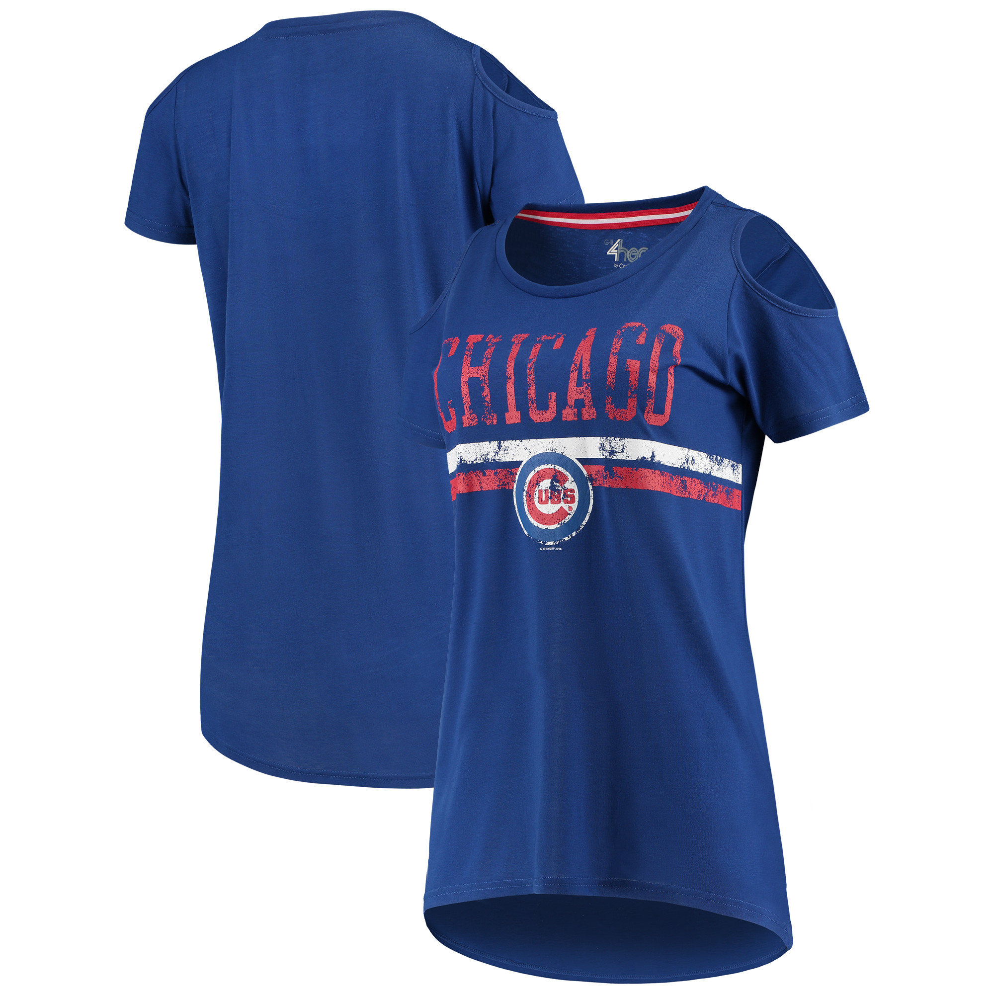 Chicago Cubs G-III 4Her by Carl Banks Women's Clear The Base Cold Shoulder Scoopneck T-Shirt - Royal