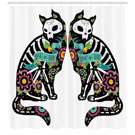 Day Of The Dead Shower Curtain Skeleton Cats Festive Celebration Theme Spanish Art Print Fabric Bathroom Set With Hooks Black White Turquoise Pink
