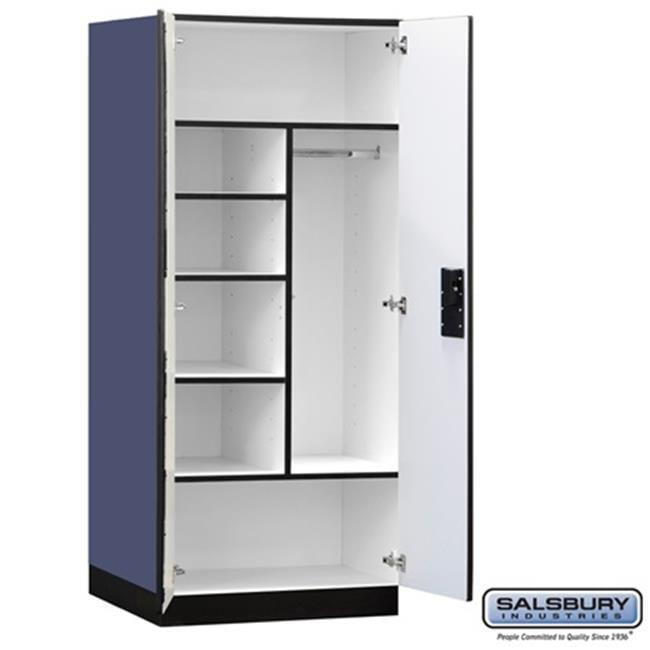 Salsbury 3274BLU Designer Wood Storage Cabinet Combination - 76 Inches High - 24 Inches Deep - Blue