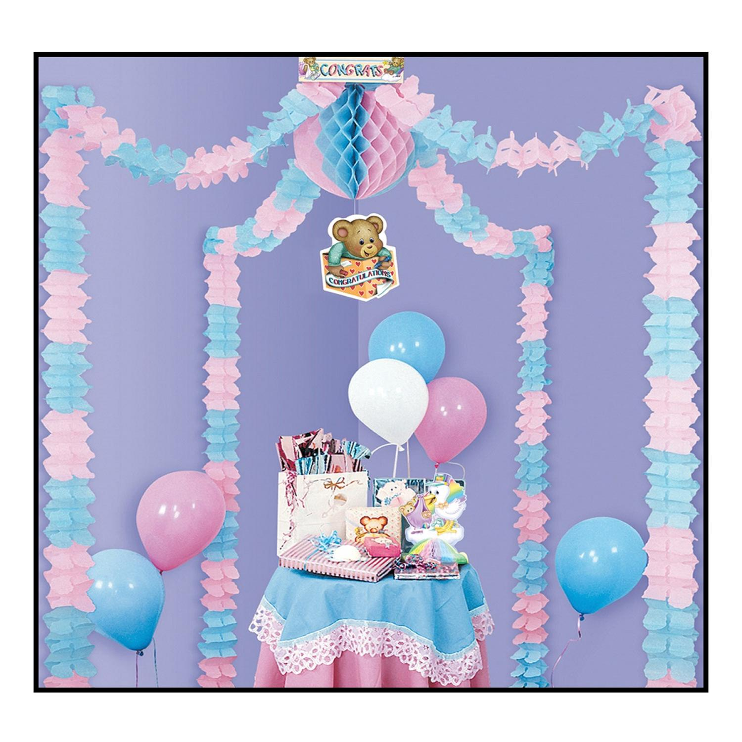Pack of 6 Pastel Pink and Blue Party Canopy Baby Shower D...