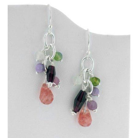 Quartz Briolette Earrings - Sterling Silver Gemstone Beaded Hook Earrings with Cherry Quartz Briolette Drops
