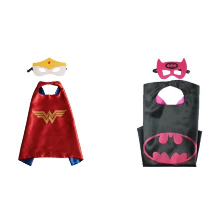 Wonder Woman & Batman Costumes - 2 Capes, 2 Masks w/Gift Box by Superheroes - Batman Cape And Mask For Adults