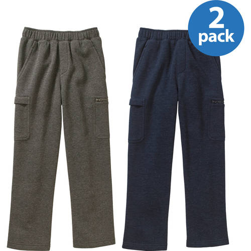 Starter Boys' Fleece Double Welt Cargo Pants 2 Pack Value Bundle