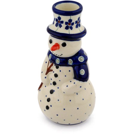 Polish Pottery 6½-inch Snowman Candle Holder (Flowering Peacock Theme) Hand Painted in Boleslawiec, Poland + Certificate of Authenticity - Peacock Candles