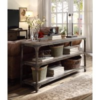 Console Table Weathered Oak Antique Silver Pine Veneer Mdf Iron Me Weathered Oak Antique Silver