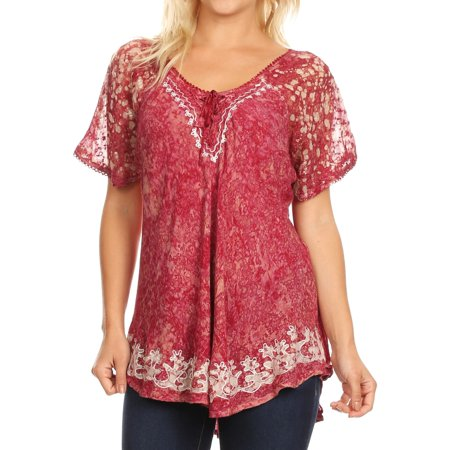 Sakkas Ash Speckled Tiedye Embroidered Cap Sleeve Blouse Top With Embroidery Hems - Brown / Burg - One Size Plus