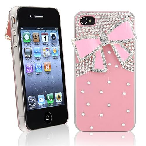 Insten Snap-on Case For Apple iPhone 4/ 4S, Pink with Diamond and Ribbon