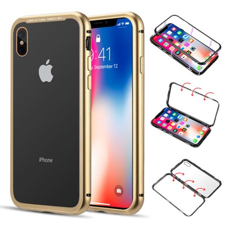 Magnetic Adsorption Aluminum Bumper Case With Tempered Glass