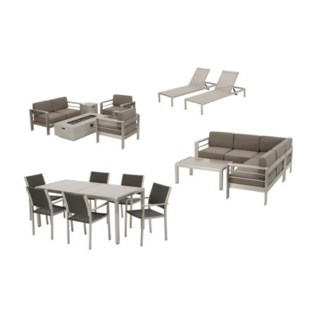 Home Cape Coral Aluminum 18 Piece Fire Pit Patio and Glass Top Dining