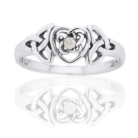 Diamond Set Celtic Ring - April Birthstone Ring - Sterling Silver White CZ Celtic Trinity Knot Heart