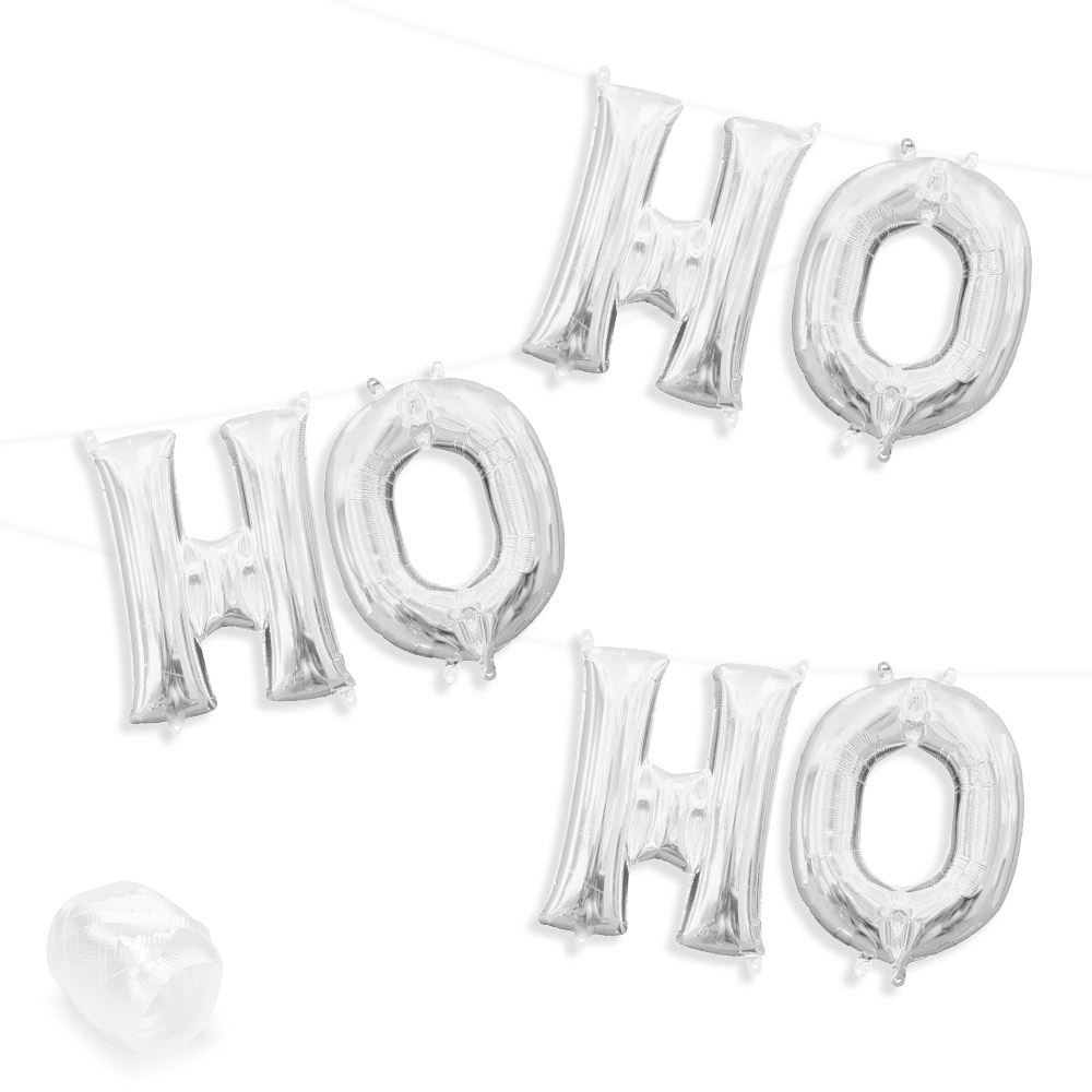 "Air-Fillable 13"" Silver Letter Balloon Kit ""HO HO HO"" Party Supplies"
