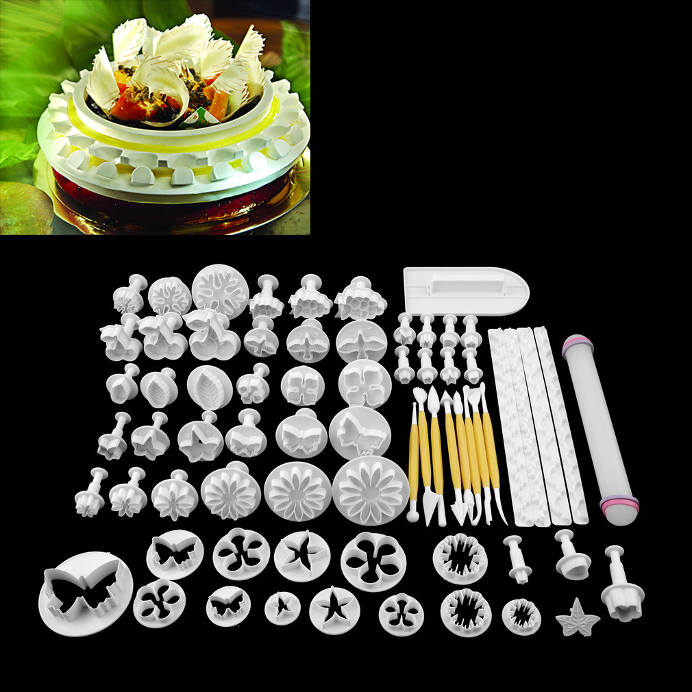 Click here to buy 68Pcs set Fondant Cake Cookie Sugar Craft Decorating Plunger Flowers Modelling Tools Set DIY Cake Cutters Molds.